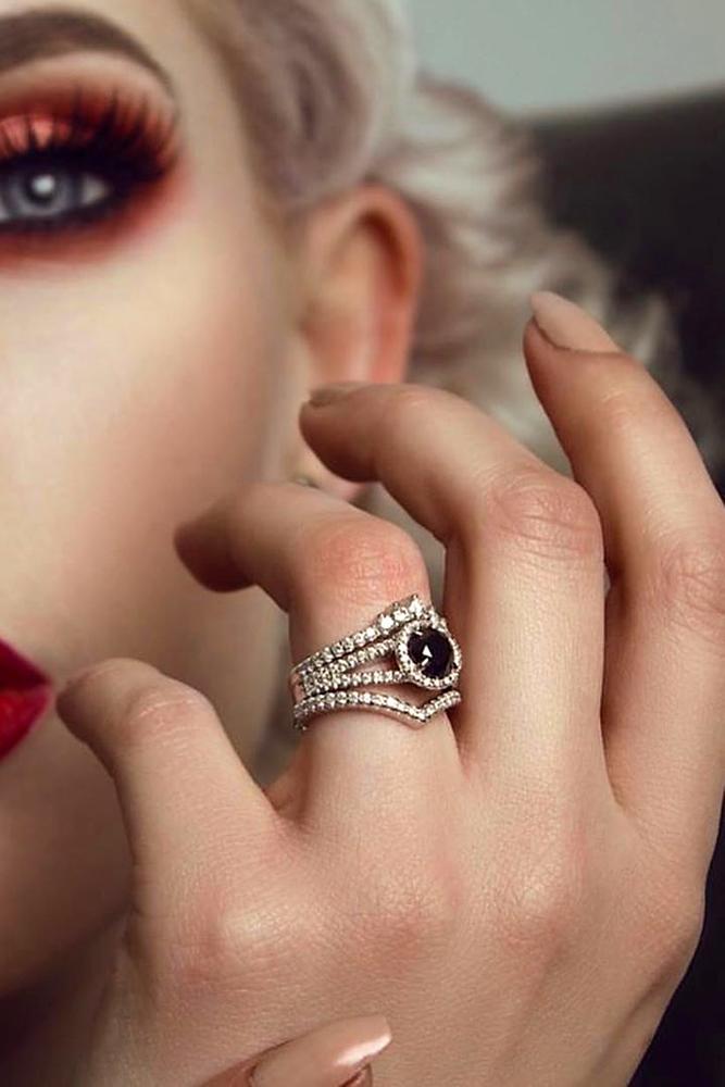 black diamond engagement rings white gold engagement ring unique engagement rings bridal sets