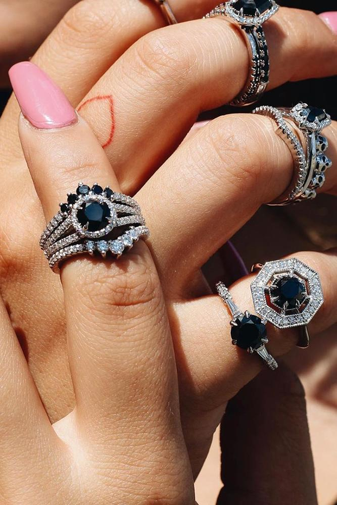 black diamond engagement rings white gold engagement ring unique engagement rings halo rings