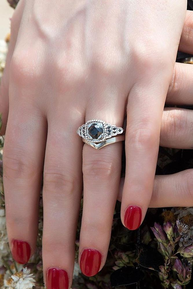 black diamond engagement rings white gold engagement ring wedding ring sets