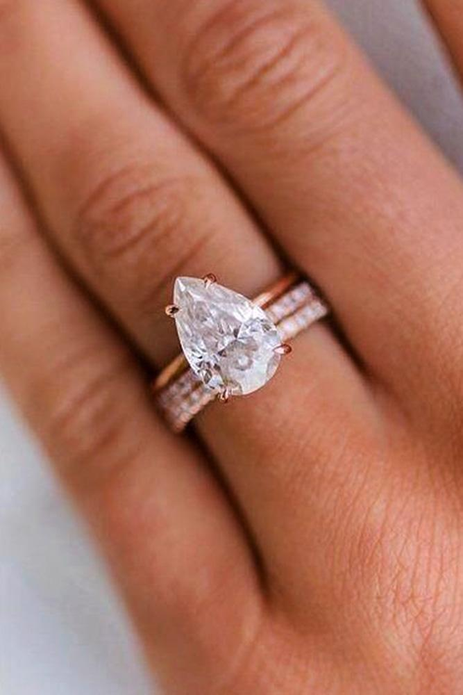pear shaped engagement rings rose gold engagement rings solitaire engagement rings