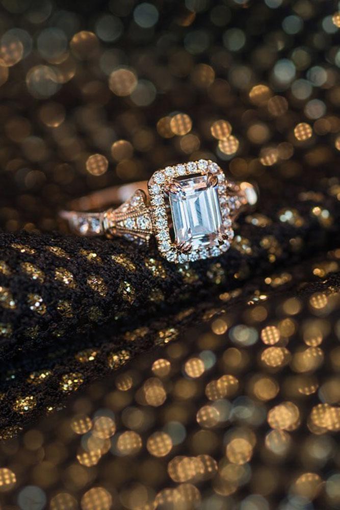 rose gold engagement rings kirk kara engagement rings emerald cut engagement rings