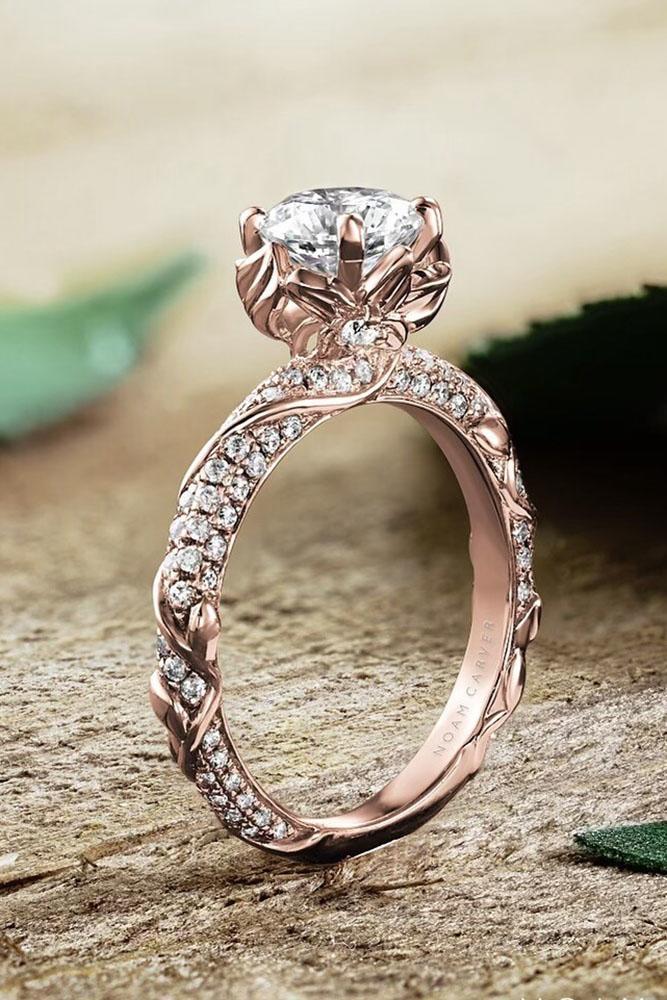 rose gold engagement rings unique engagement rings diamond engagement rings pave band