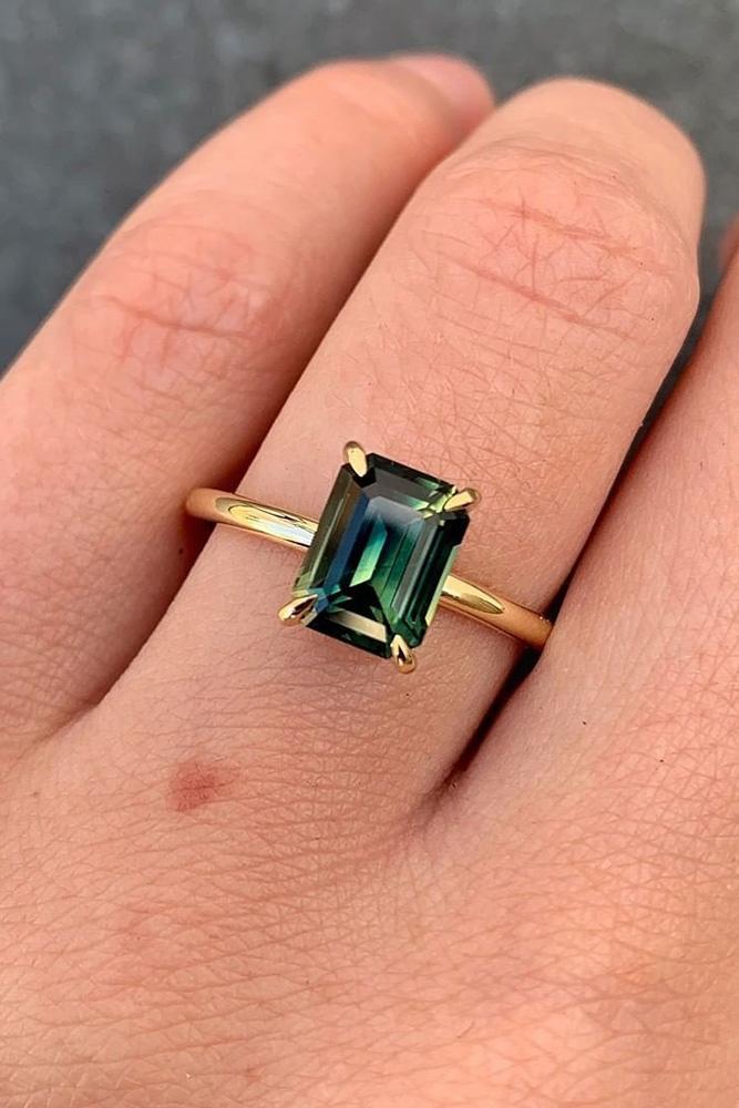 sapphire engagement rings green sapphire engagement rings emerald cut engagement rings