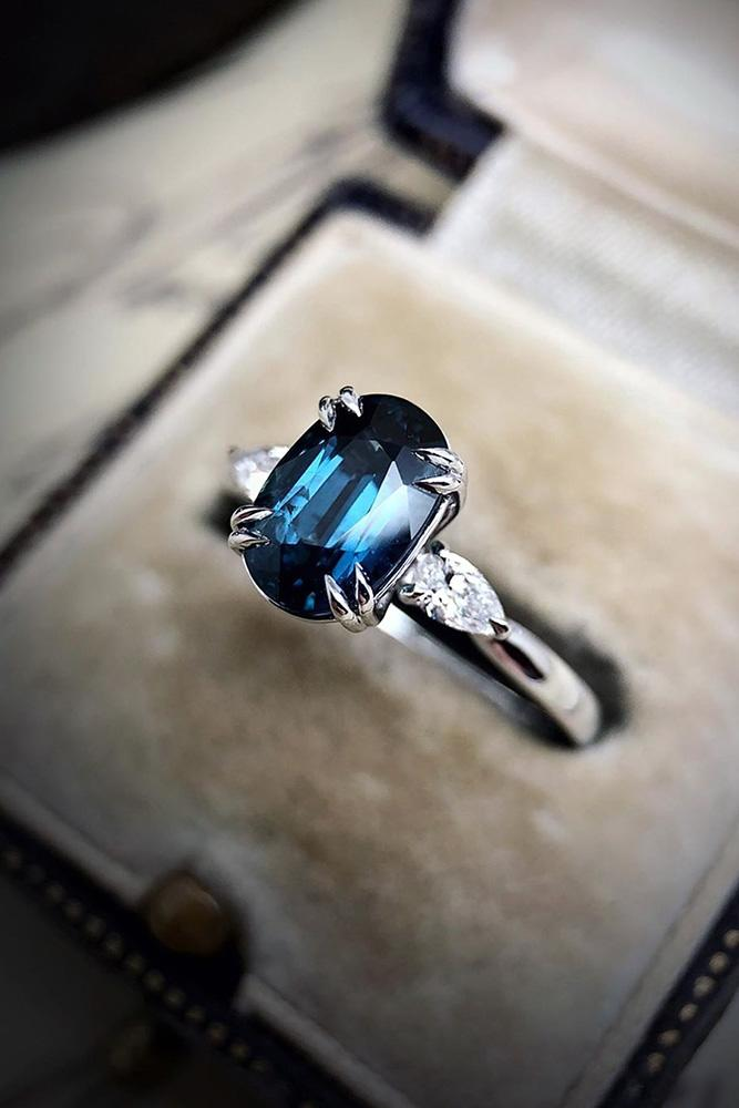 sapphire engagement rings three stone engagement rings oval cut rings white gold rings