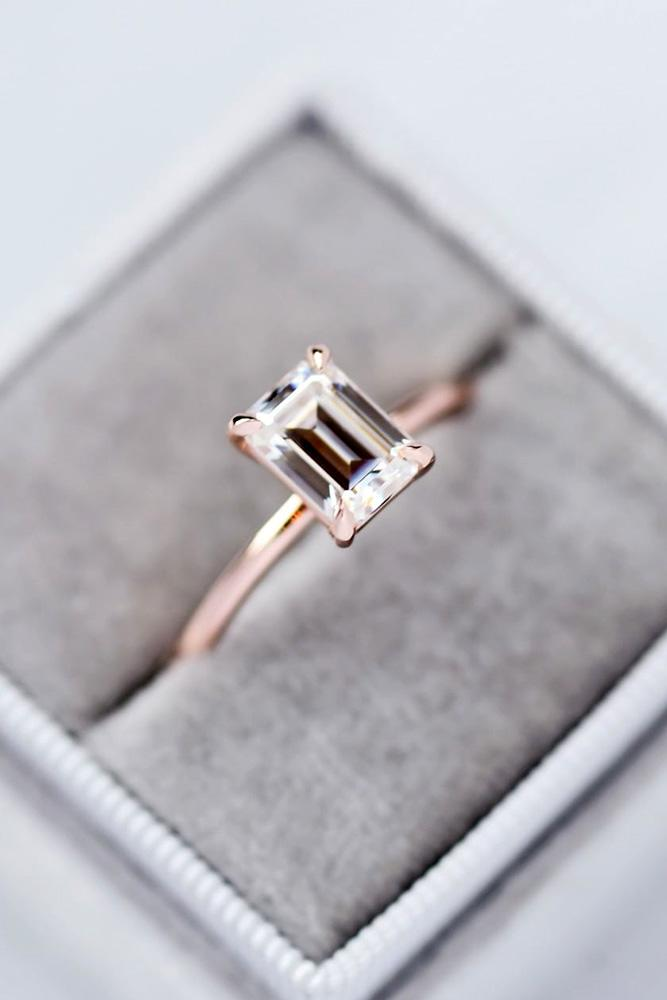 simple engagement rings emerald cut engagement rings rose gold engagement rings solitaire rings