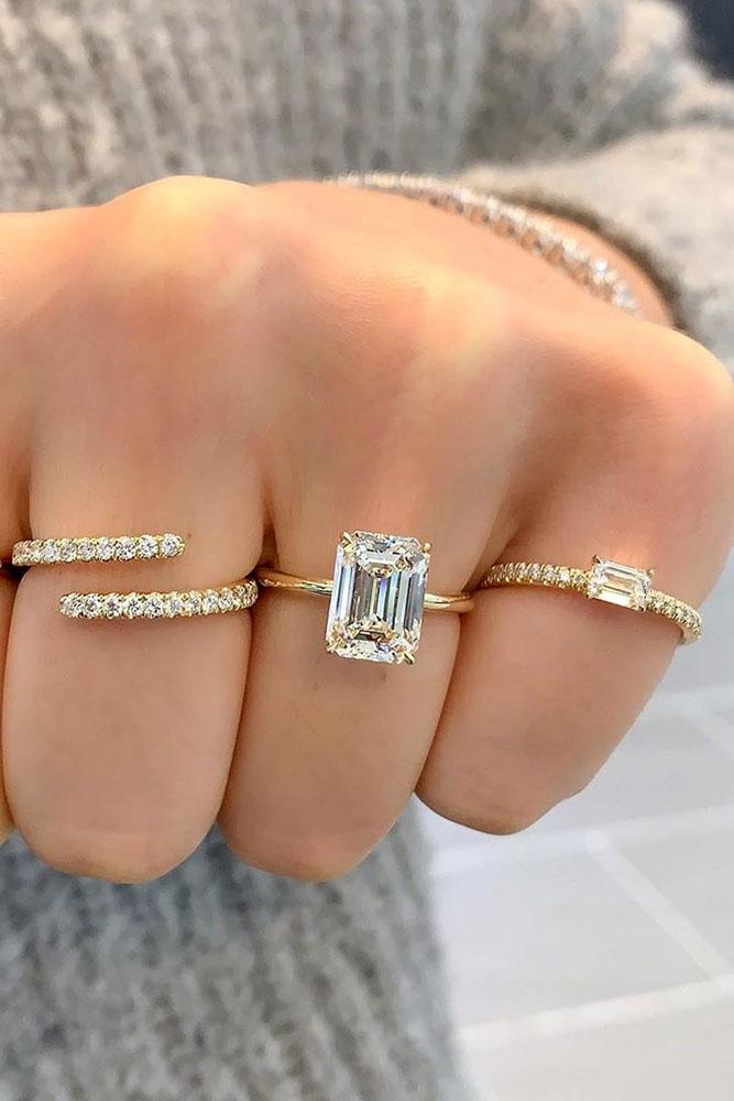 simple engagement rings emerald cut engagement rings yellow gold engagement rings solitaire rings