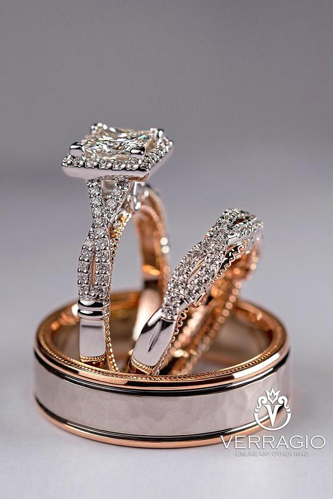 unique wedding rings rose gold wedding rings bridal sets diamond engagement rings halo rings