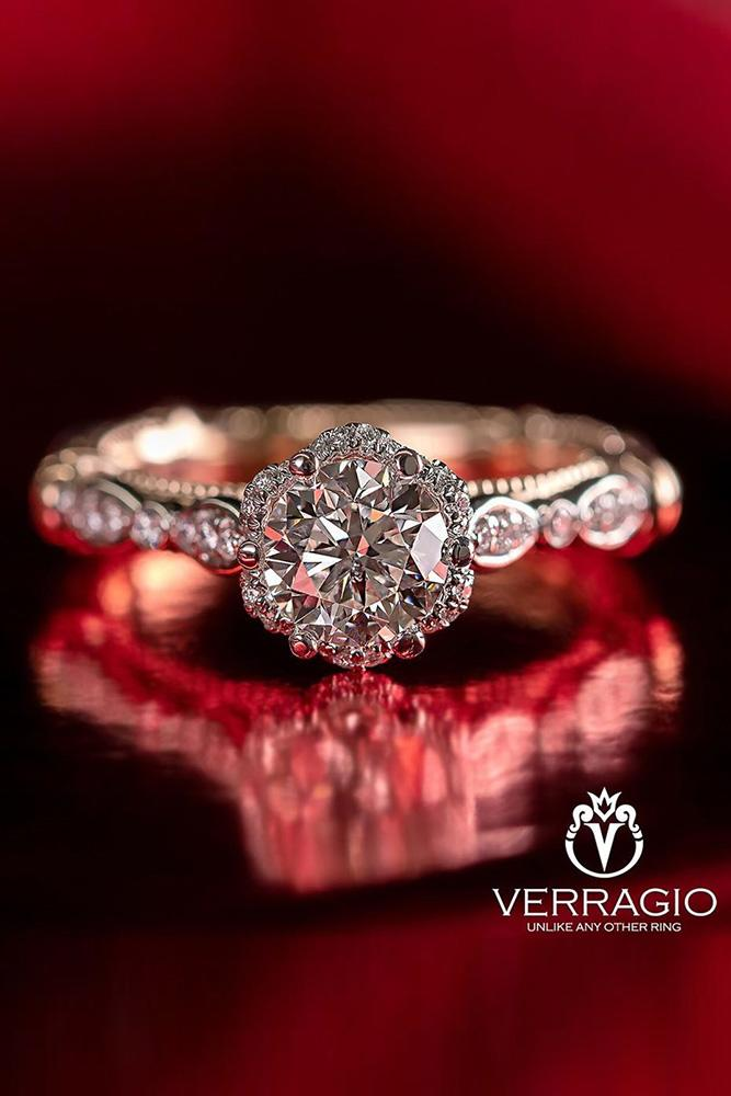 verragio engagement rings round cut diamond ring halo ring vintage ring