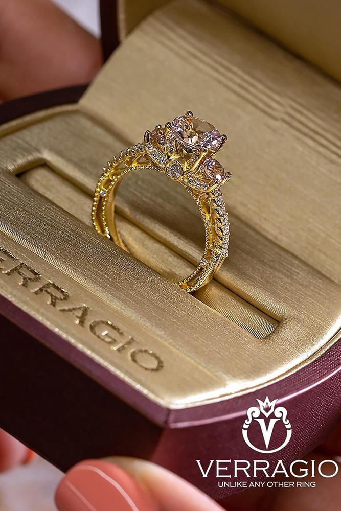 verragio engagement rings round cut diamond ring yellow gold ring box