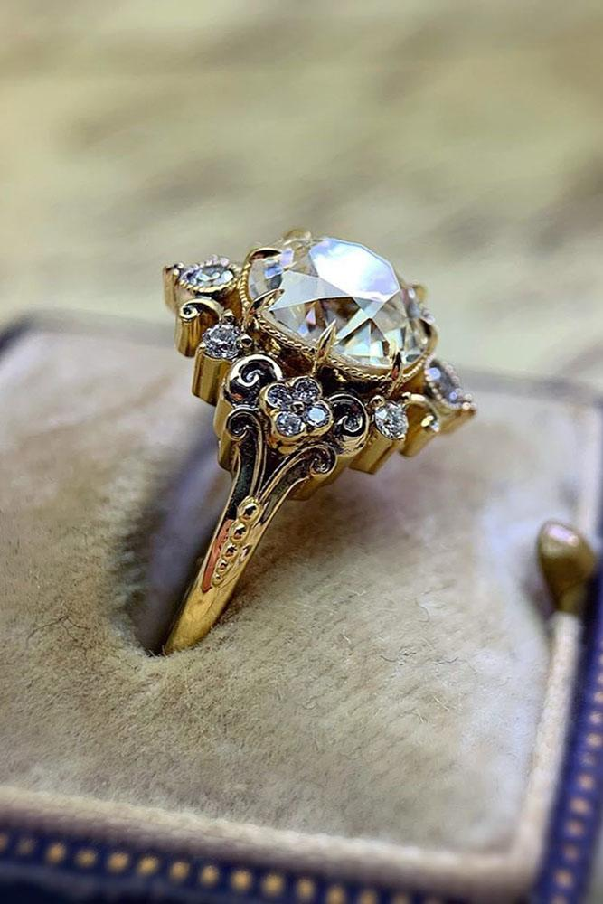 vintage engagement rings rose gold engagement rings floral engagement rings gemstone engagement rings