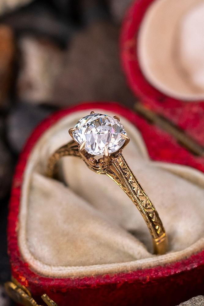 vintage engagement rings rose gold engagement rings unique engagement rings round cut diamond rings