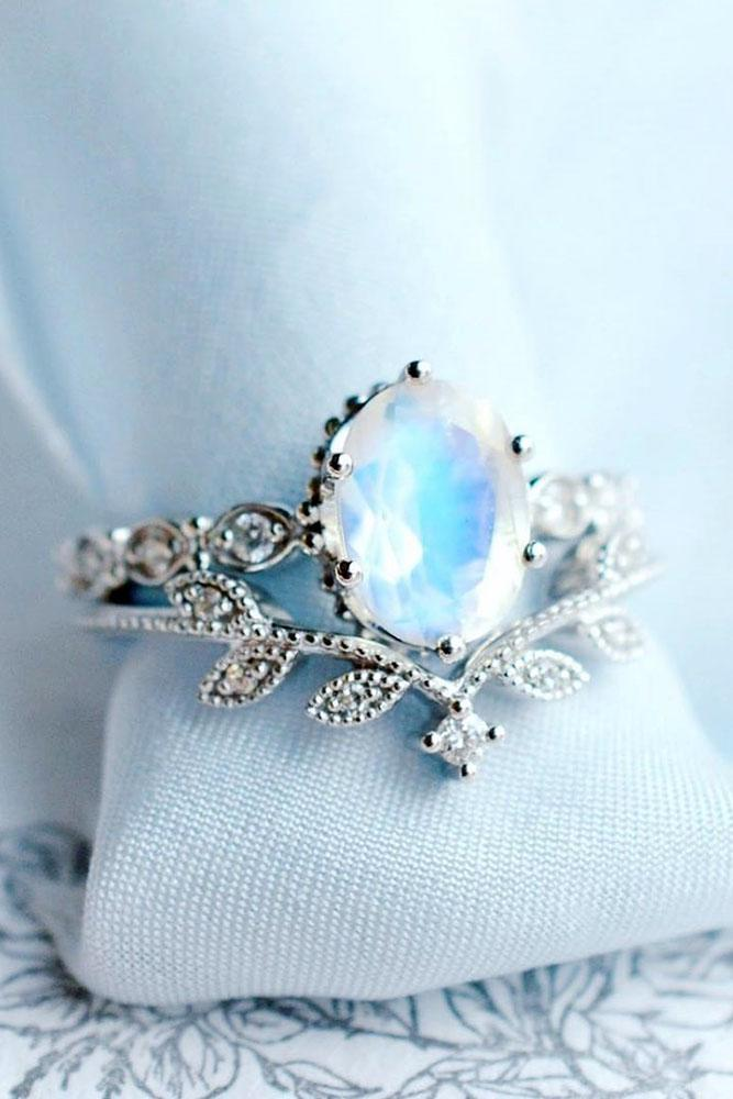 vintage engagement rings white gold engagement rings floral engagement rings moonstone engagement rings