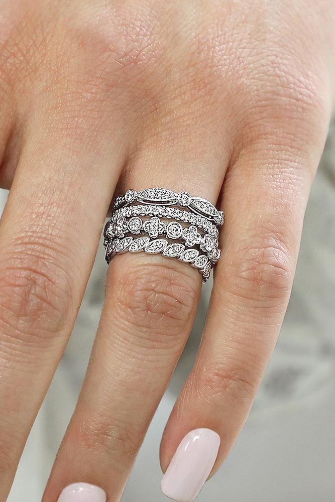 wedding ring set white gold rings stackable wedding band modern rings