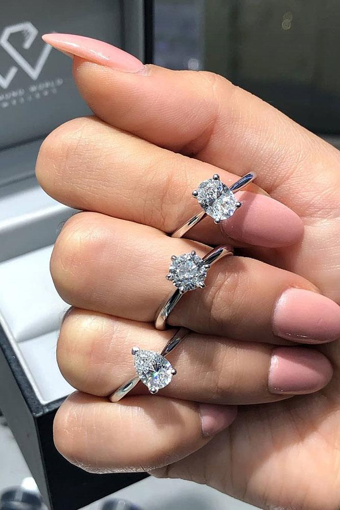 white gold engagement rings simple engagement rings diamond engagement rings round cut engagement rings