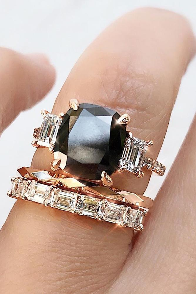 black diamond engagement rings rose gold wedding rings three stone rings cushion cut rings