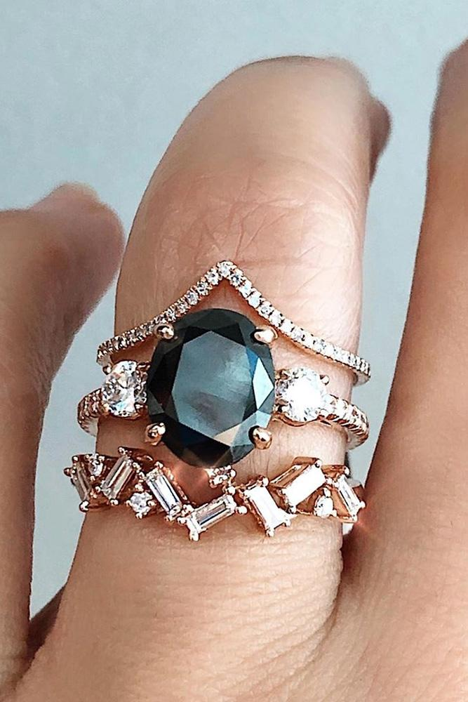 black diamond engagement rings rose gold wedding rings three stone rings oval cut rings