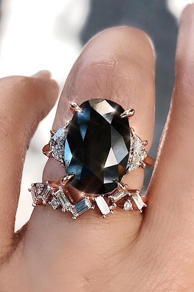 black diamond engagement rings rose gold wedding rings three stone rings