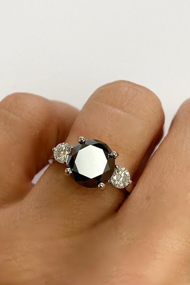 black diamond engagement rings round cut diamond engagement rings three stone rings