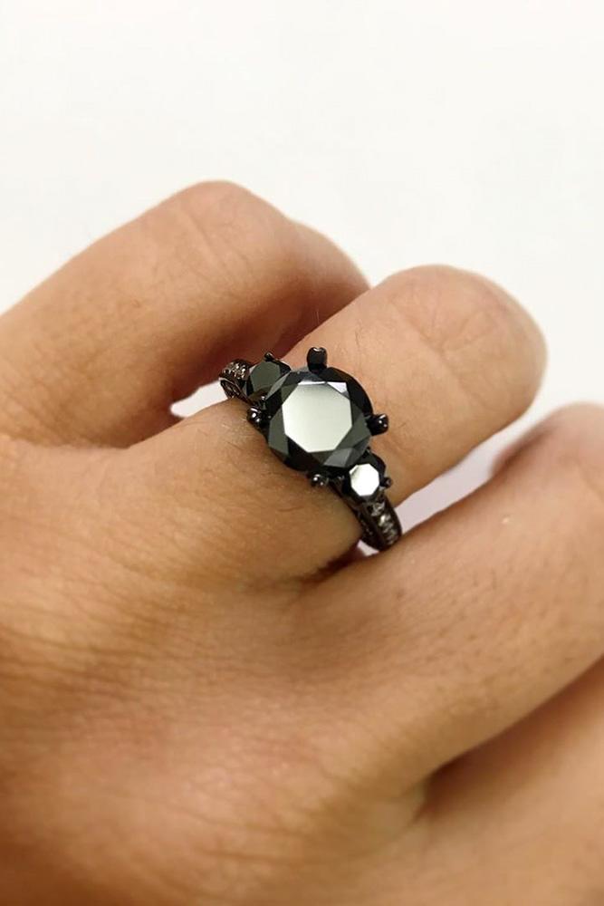 black diamond engagement rings round diamond engagement rings three stone rings
