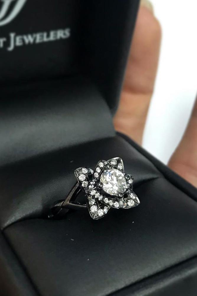 black diamond engagement rings unique engagement ring white gold engagement ring floral ring
