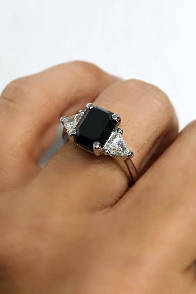 black diamond engagement rings white gold engagement rings three stone rings
