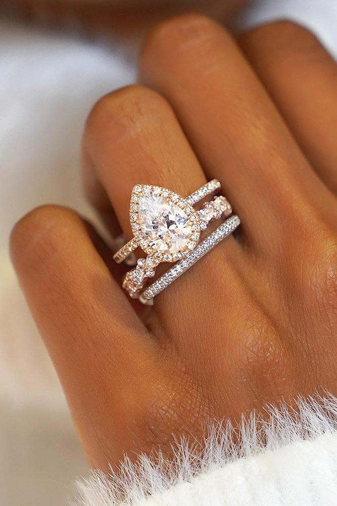 bridal sets pear cut engagement rings rose gold engagement rings wedding ring sets