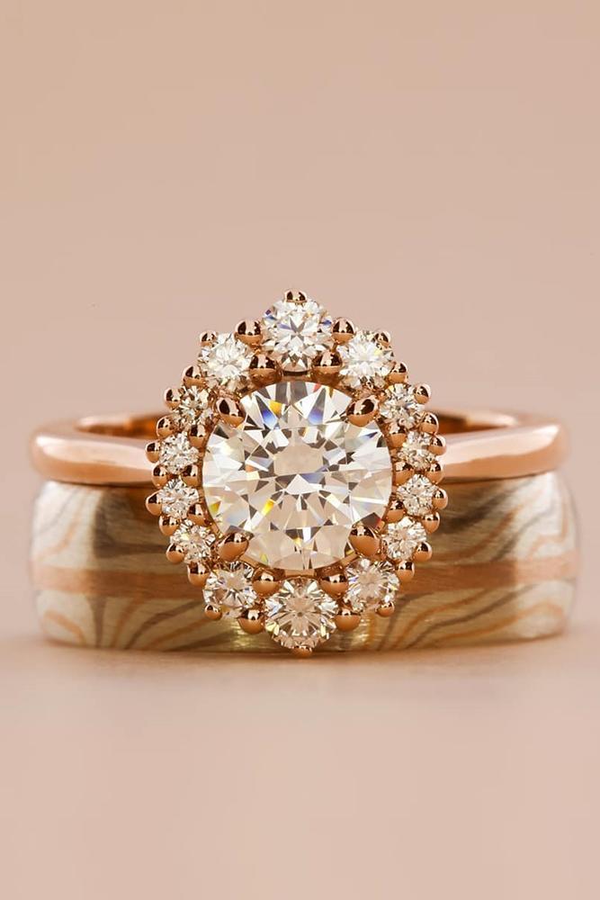 diamond engagement rings rose gold engagement rings halo engagement rings round cut engagement rings