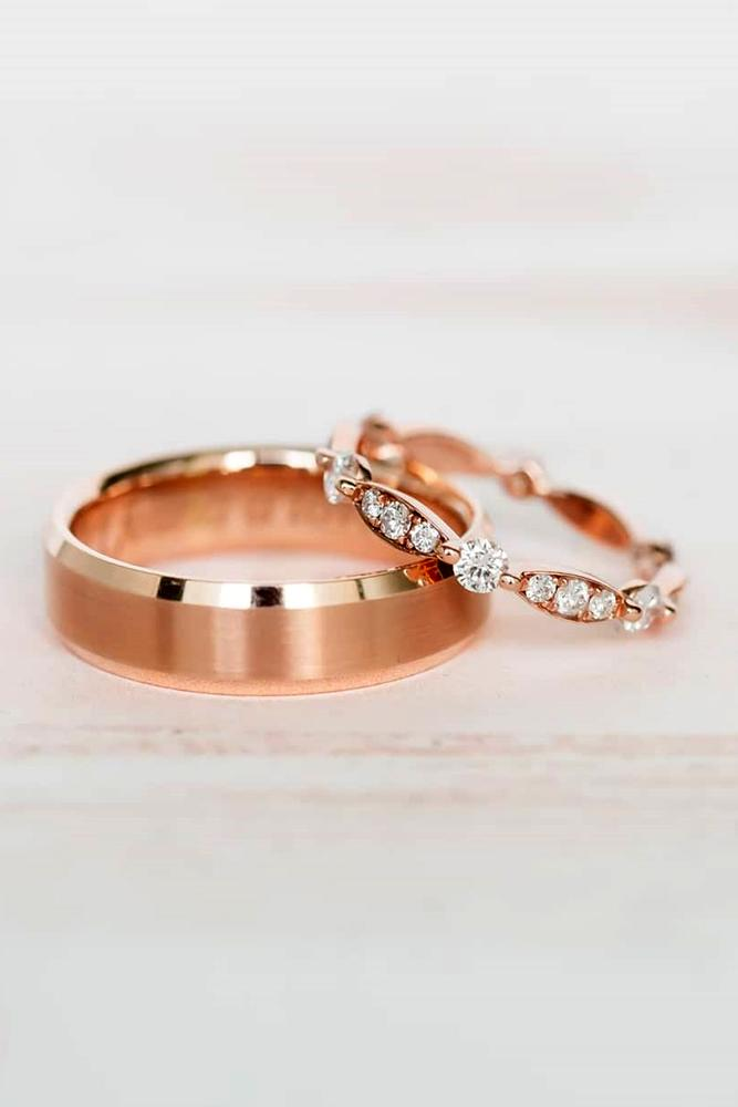 matching wedding bands rose gold wedding rings unique wedding bands diamond band