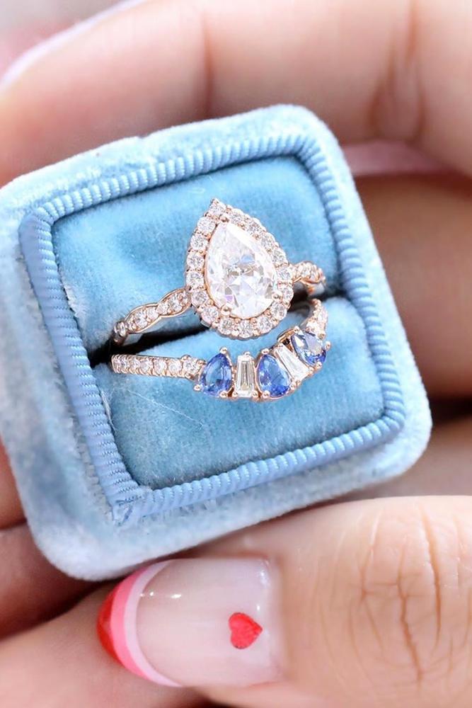 moissanite engagemen rings amazing pear cut moissanite halo ring bridal sets