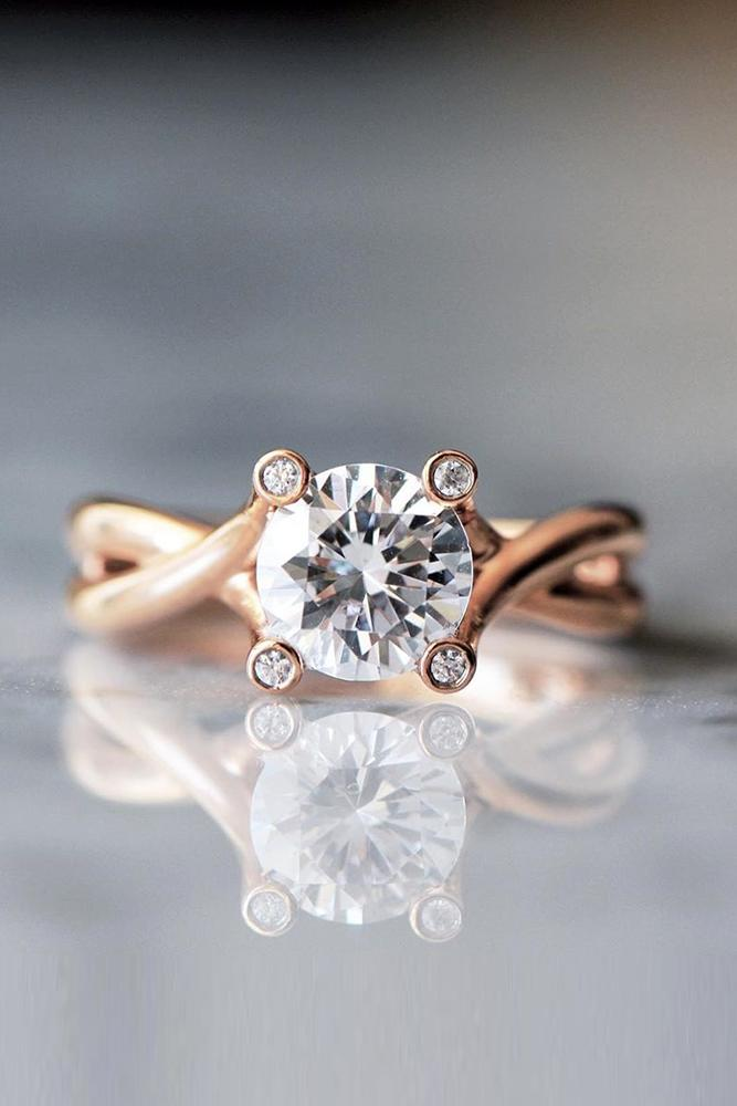 round engagement rings rose gold engagement rings twisted bands