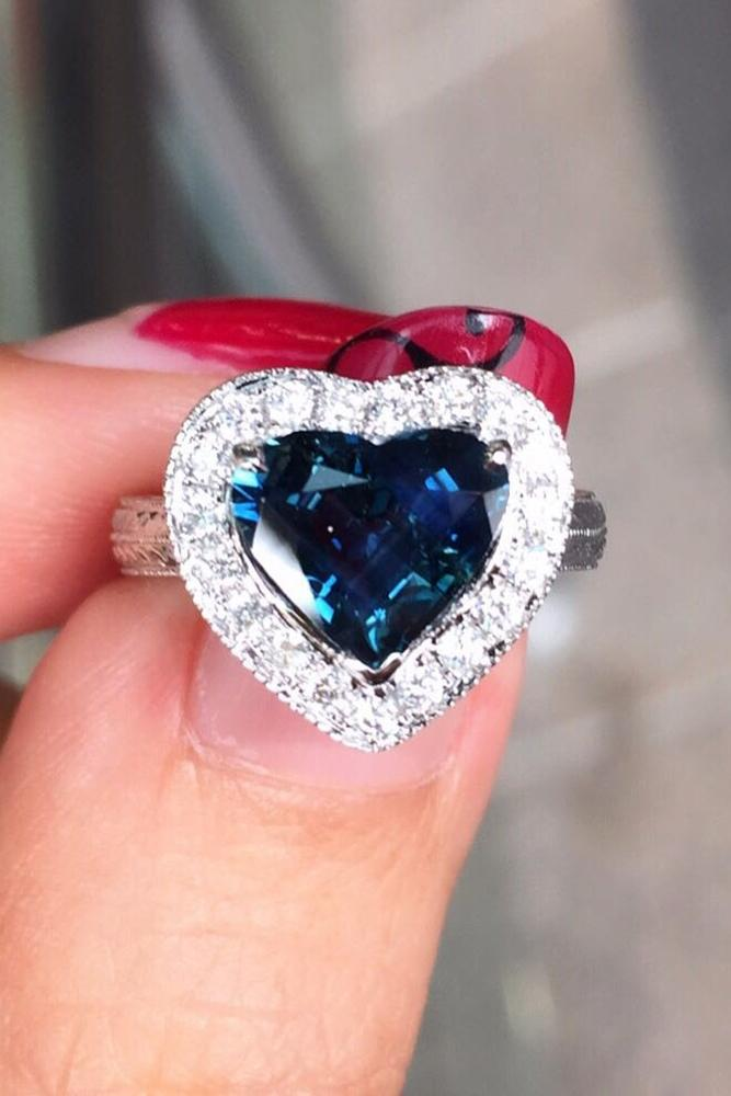 sapphire engagement rings halo engagement rings heart cut engagement rings