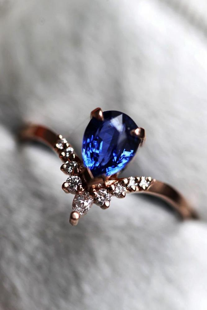 sapphire engagement rings rose gold engagement rings pear shaped engagement rings
