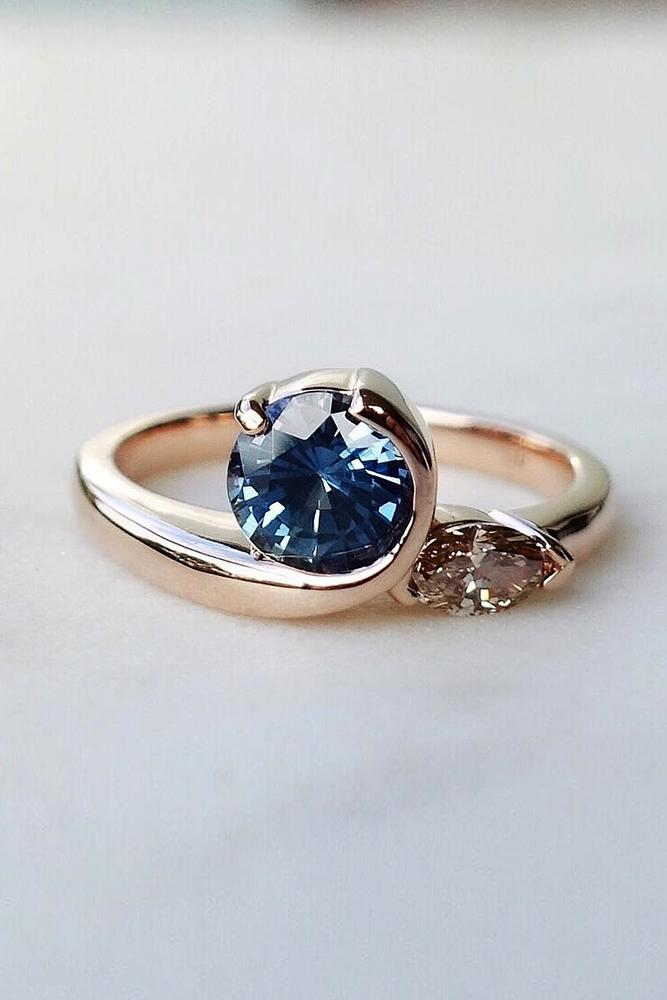 sapphire engagement rings rose gold engagement rings unque engagement rings