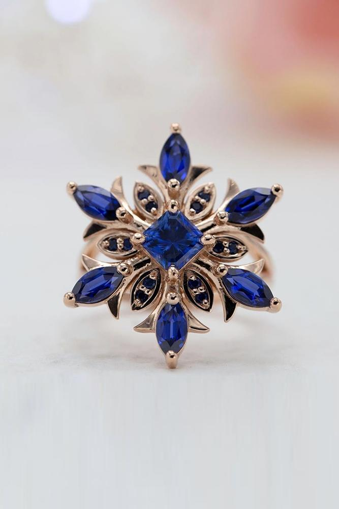 sapphire engagement rings rose gold engagement rings unque engagement rings floral rings
