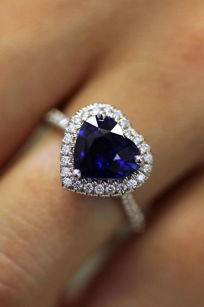 sapphire engagement rings white gold engagement rings heart cut engagement rings