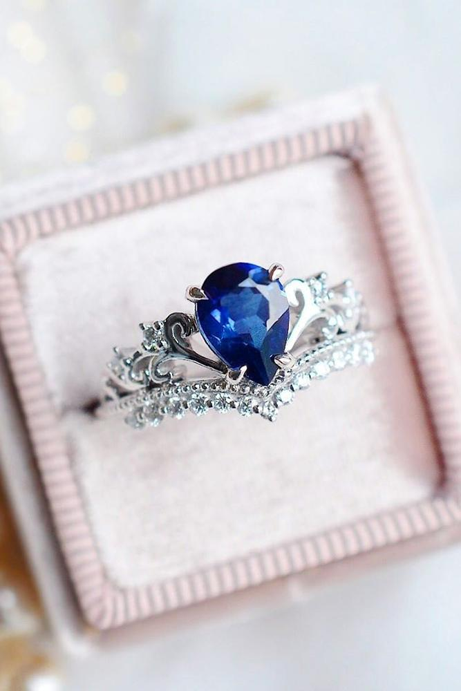 sapphire engagement rings white gold engagement rings pear shaped engagement rings
