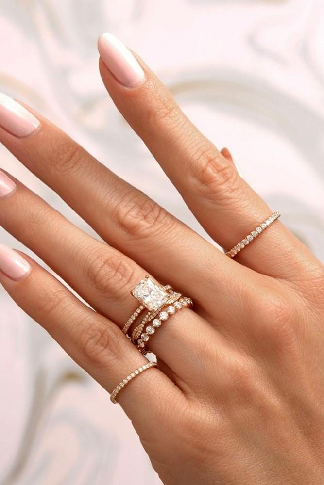 wedding ring sets rose gold engagement rings bridal sets