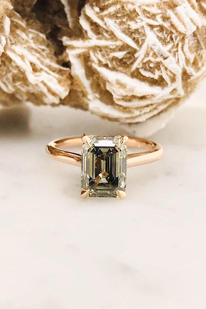 diamond engagement rings olive green diamond ring emerald cut engagement ring