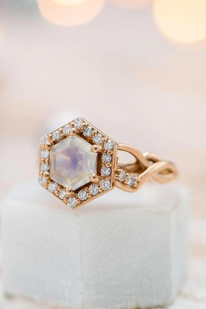 halo engagement rings rose gold engagement rings moonstone rings