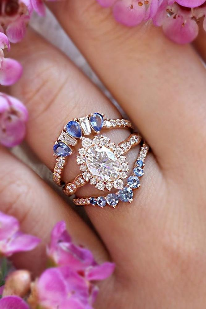 oval cut engagement rings rose gold engagement rings vintage rings wedding ring sets