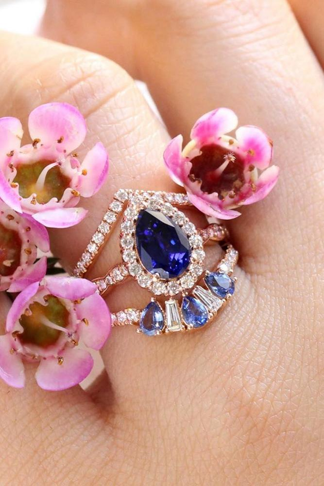 pear shaped engagement rings rose gold engagement ring sapphire ring