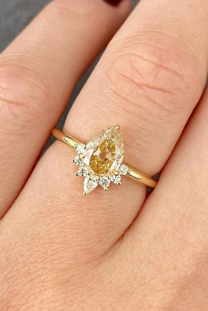 pear shaped engagement rings yellow gold engagement ring diamond ring