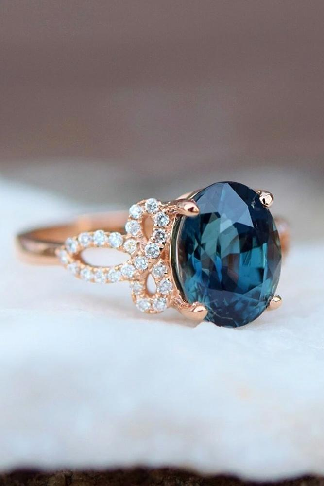 sapphire engagement rings blue sapphire ring oval cut ring rose gold ring