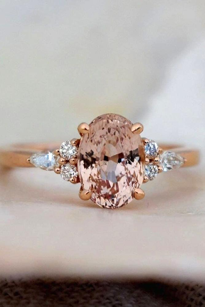 sapphire engagement rings pink sapphire ring oval cut ring rose gold ring