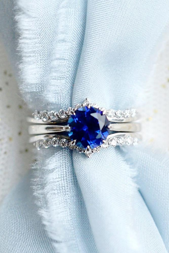 sapphire engagement rings white gold engagement ring round cut engagement ring