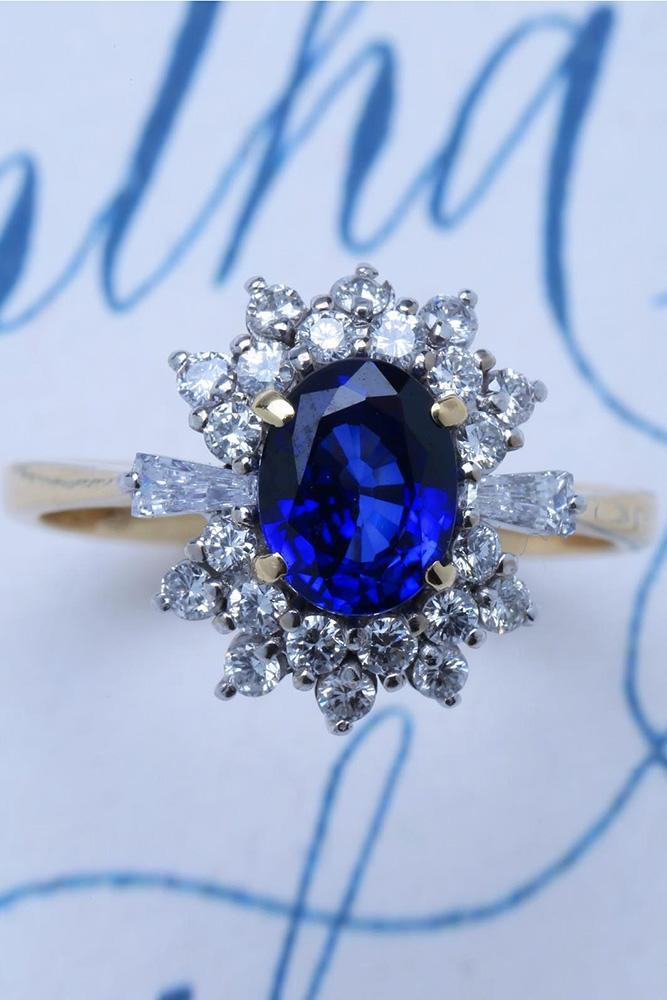 sapphire engagement rings white gold engagement rings floral rings diamond halo ring