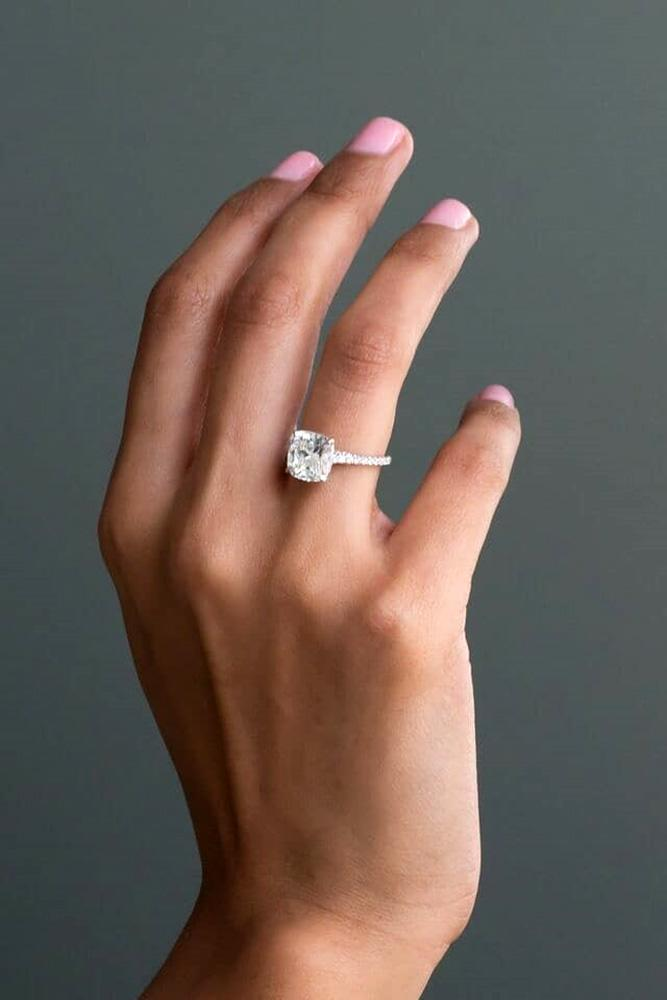 solitaire engagement rings cushion cut engagement rings diamond engagement rings