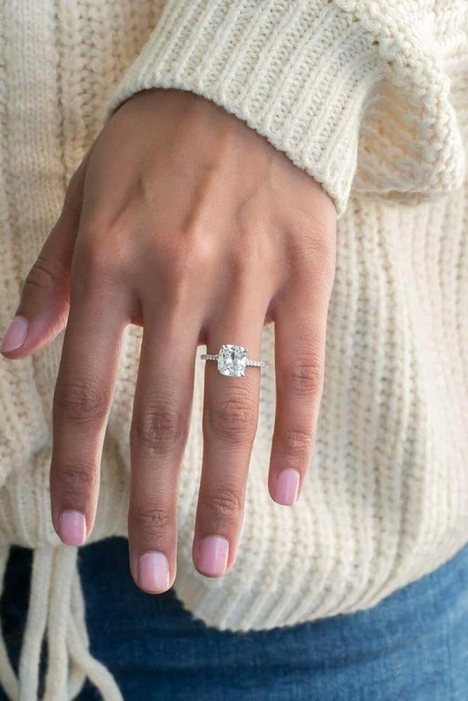 solitaire engagement rings cushion cut engagement rings white gold engagement rings