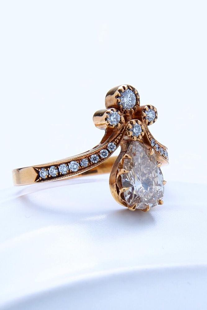 vintage engagement rings pear shaped engagement ring rose gold engagement ring