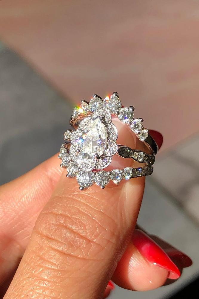 vintage engagement rings pear shaped engagement ring white gold engagement ring